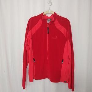 Jack Wolfskin red micro fleece zip up jacket